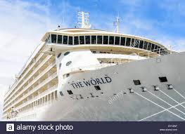 cruise ship the world ms the world a privately owned cruise ship anchored in the port