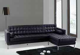Black Leather Sectional Sofas Black Or Brown Button Tufted Leather Sectional Sofa