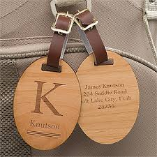 personalized wood luggage tags classic monogram