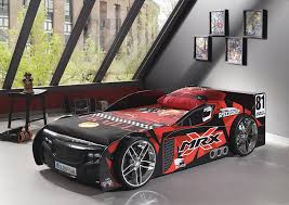 sport en chambre x lit voiture de sport noir blackcar avec éclairage led chambre
