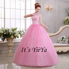 wedding frocks free shipping new 2017 pink high neck lace princess wedding