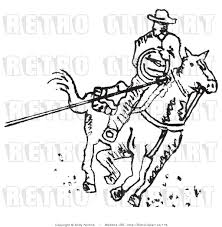 clip art roping cowboy black and white royalty free retro vector