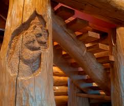 pioneer log homes floor plans a pair of bear u0027s relief carved as a subtle detail on the stairs