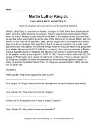 important african americans comprehension martin luther king