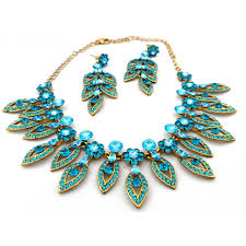 green crystal necklace set images Fashion jewellery austrian crystal caribbean blue wedding party jpg