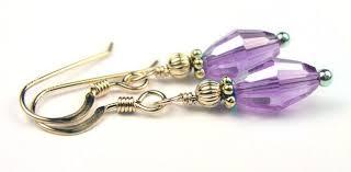 purple drop earrings dainty gold handmade purple drop earrings alexandrite