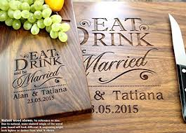 cutting board wedding gift eat drink and be married personalized engraved cutting board