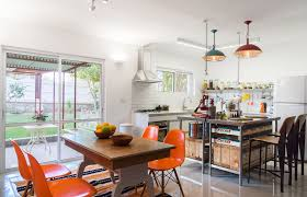 kitchen style ceramic tile floors orange dining chairs white open