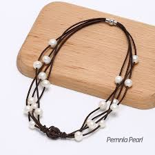 leather cord necklace clasps images Pernnla pearl handmade necklace made of freshwater pearl genuine jpg