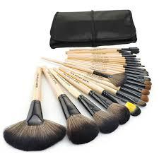 big 24 pcs professional makeup brushes set tools make up toiletry kit natural wood make up brush set with leather case