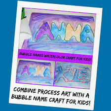 process art and crafting retro bubbled name activity for kids