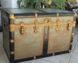 vintage xl steamer trunk coffee table steampunk storage trunk