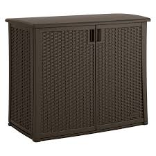 Cabinet Tools Suncast 97 Gallon Java Resin Wicker Outdoor Cabinet Bmoc4100