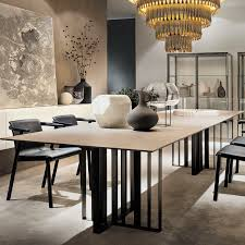 contemporary dining table wooden metal rectangular shade