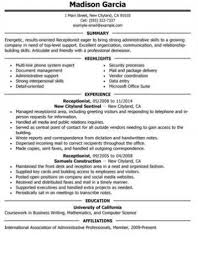 Coordination Skills Resume Receptionist Resume And Skills Guide