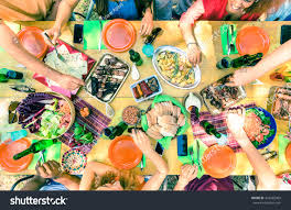top view friend hands serving food stock photo 424465909