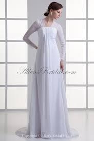 Chiffon Wedding Dresses Allens Bridal Chiffon Square Empire Sweep Train Long Sleeves