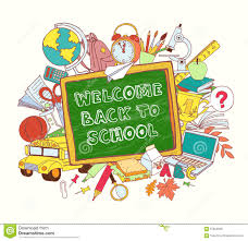 green blackboard frame greeting card welcome back to school with