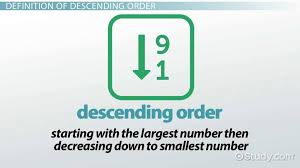 what is descending order definition u0026 example video u0026 lesson