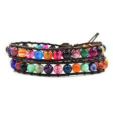 bead wrap bracelet leather images Rainbow agate stone beaded leather wrap bracelet 2 jpg
