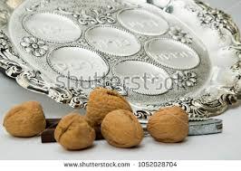 bitter herbs on seder plate passover seder plate symbols haroset zroa stock photo 1052793674