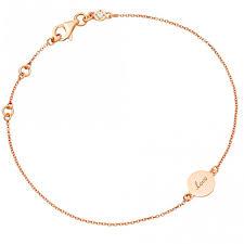 tiny rose gold laser cut love disc bracelet astley clarke
