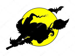 witch flying on full moon silhouettes halloween vector