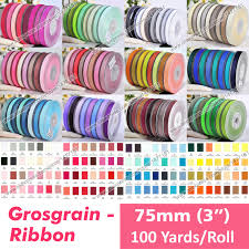 3 grosgrain ribbon 100 yards solid color sided faced 75mm 3 grosgrain ribbons