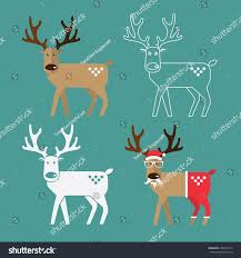 set christmas reindeer flat design christmas stock vector