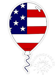 american flag balloon clipart coloring page