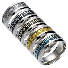 religious rings fashion cross stainless steel ring mens jewelry titanium steel