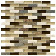 Merola Tile Tessera Subway Nassau  In X  In X  Mm - Stone glass mosaic tile backsplash