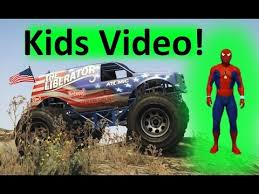 spider man driving monster truck kids music video