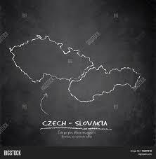 Slovakia Map Czech Slovakia Map Blackboard Vector U0026 Photo Bigstock