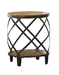 Wood And Metal End Table Amazon Com Steve Silver Company Winston Round End Table Kitchen