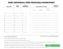 Free Printable Spreadsheet Debt Snowball And Free Printable Worksheet Earn Blogging