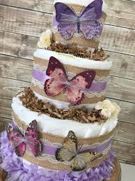Butterfly Baby Shower Centerpiece Spring Theme Diaper Cake for