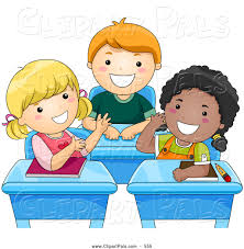 pal clipart of a trio of diverse kids talking at their