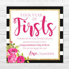 Bridal Shower Wine Basket Printed U0026 Shipped A Year Of Firsts Floral Stripe Wine Gift