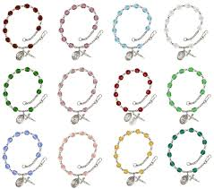 birthstone bracelets for agatha silver plate birthstone rosary bracelet by bliss