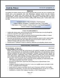 Insurance Resume Examples by Claims Examiner Resume Sample