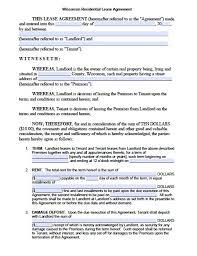 free wisconsin standard residential lease agreement u2013 pdf template