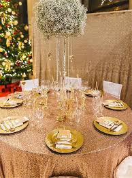 wedding table cloths 120inch gold sequin tablecloth hot sale glitter sequin table cloth