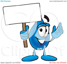 clipart picture of a water drop mascot cartoon character holding a