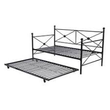 twin size contemporary daybed in flint metal finish with pop up