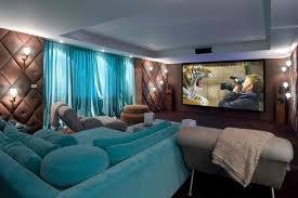 decorating ideas stunning home theater design idea with cozy blue
