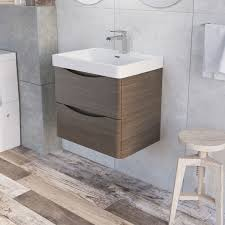 Grey Vanity Unit Erin 600mm Wall Mounted Vanity Unit And Composite Resin Basin