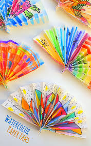 how to make paper fans watercolor painted paper fans pink stripey socks