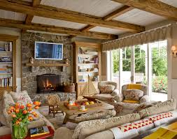 Tray Ceiling Beams Living Room Traditional With Area Rug Large - Country family room