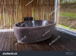 open air bathroom marble bathtub bamboo stock photo 539683060